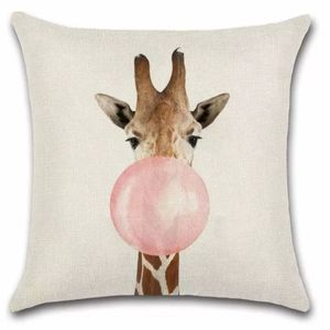 "Other - Giraffe Bubblegum 18""X18"" Decorative Throw Pillow"